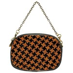 HOUNDSTOOTH2 BLACK MARBLE & RUSTED METAL Chain Purses (Two Sides)  Front