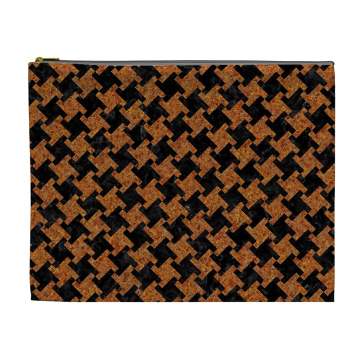 HOUNDSTOOTH2 BLACK MARBLE & RUSTED METAL Cosmetic Bag (XL)