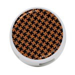 HOUNDSTOOTH2 BLACK MARBLE & RUSTED METAL 4-Port USB Hub (Two Sides)  Front