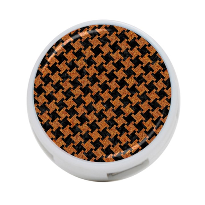 HOUNDSTOOTH2 BLACK MARBLE & RUSTED METAL 4-Port USB Hub (Two Sides)