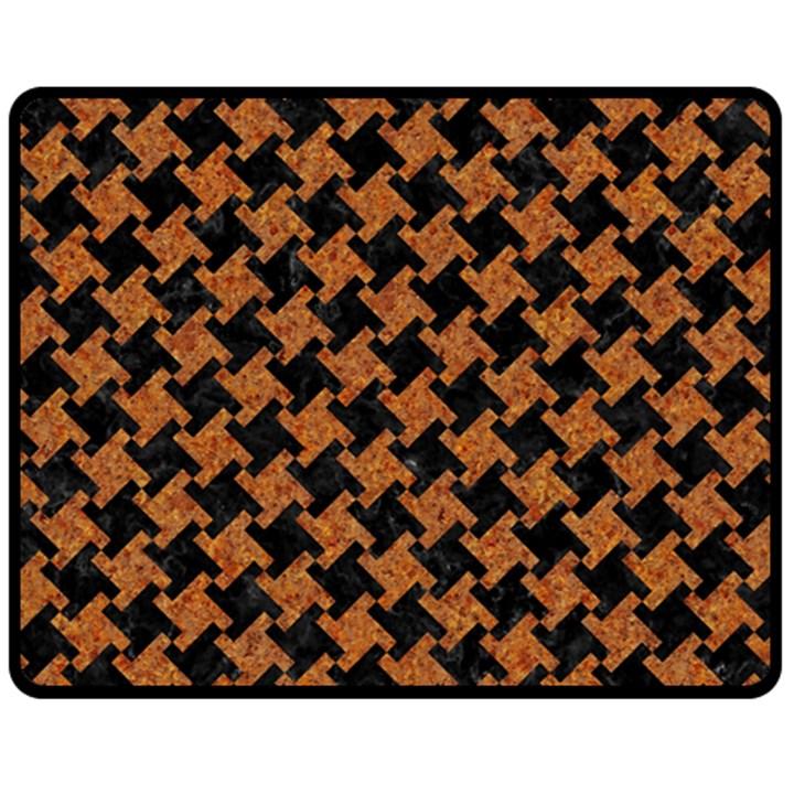 HOUNDSTOOTH2 BLACK MARBLE & RUSTED METAL Fleece Blanket (Medium)