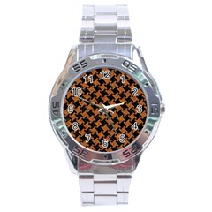 Houndstooth2 Black Marble & Rusted Metal Stainless Steel Analogue Watch