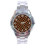 HOUNDSTOOTH2 BLACK MARBLE & RUSTED METAL Stainless Steel Analogue Watch Front