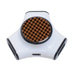 HOUNDSTOOTH2 BLACK MARBLE & RUSTED METAL 3-Port USB Hub Front