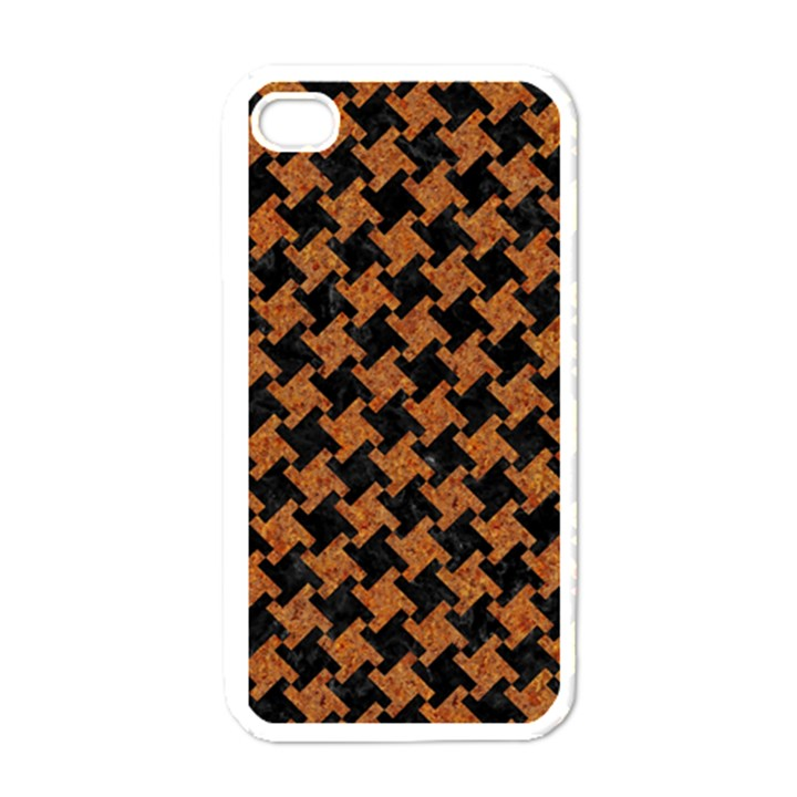 HOUNDSTOOTH2 BLACK MARBLE & RUSTED METAL Apple iPhone 4 Case (White)