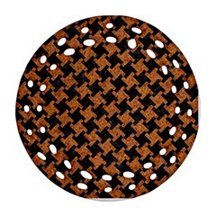 Houndstooth2 Black Marble & Rusted Metal Round Filigree Ornament (two Sides)