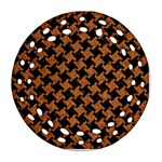 HOUNDSTOOTH2 BLACK MARBLE & RUSTED METAL Round Filigree Ornament (Two Sides) Front