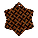 HOUNDSTOOTH2 BLACK MARBLE & RUSTED METAL Snowflake Ornament (Two Sides) Front