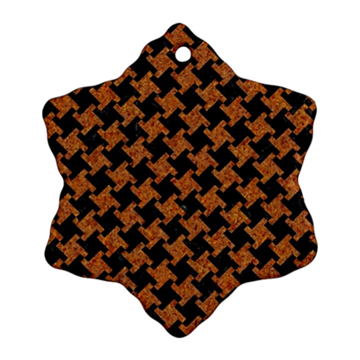 HOUNDSTOOTH2 BLACK MARBLE & RUSTED METAL Snowflake Ornament (Two Sides)