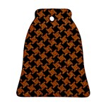 HOUNDSTOOTH2 BLACK MARBLE & RUSTED METAL Bell Ornament (Two Sides) Front
