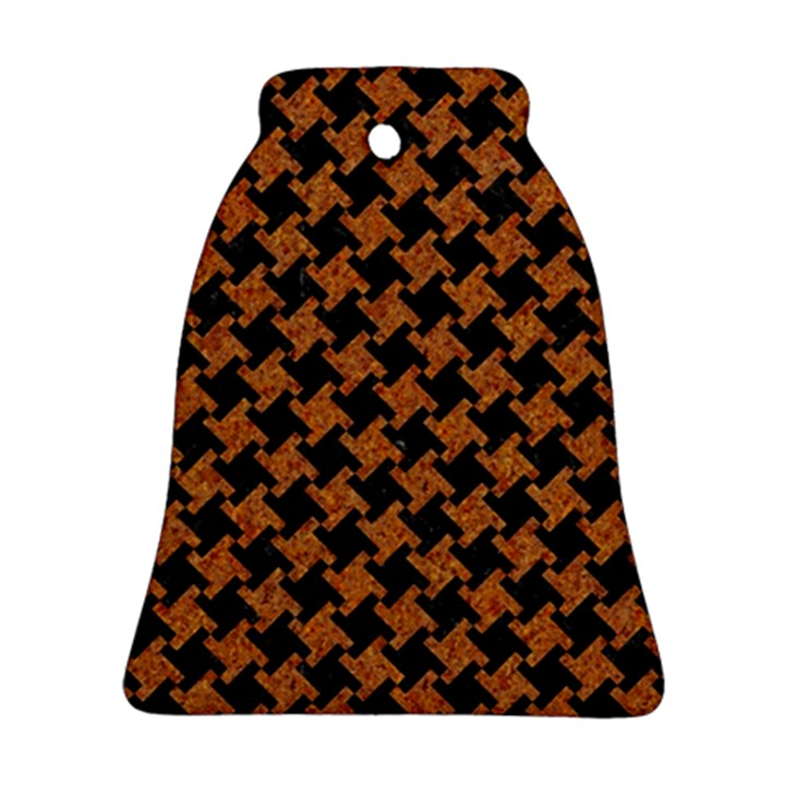 HOUNDSTOOTH2 BLACK MARBLE & RUSTED METAL Bell Ornament (Two Sides)
