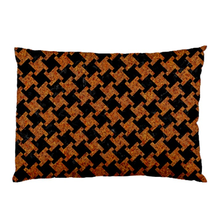 HOUNDSTOOTH2 BLACK MARBLE & RUSTED METAL Pillow Case (Two Sides)