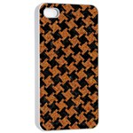 HOUNDSTOOTH2 BLACK MARBLE & RUSTED METAL Apple iPhone 4/4s Seamless Case (White) Front