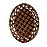 HOUNDSTOOTH2 BLACK MARBLE & RUSTED METAL Oval Filigree Ornament (Two Sides) Front