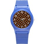 HOUNDSTOOTH2 BLACK MARBLE & RUSTED METAL Round Plastic Sport Watch (S) Front