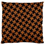 HOUNDSTOOTH2 BLACK MARBLE & RUSTED METAL Large Cushion Case (One Side) Front