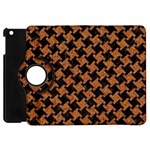 HOUNDSTOOTH2 BLACK MARBLE & RUSTED METAL Apple iPad Mini Flip 360 Case Front
