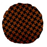 HOUNDSTOOTH2 BLACK MARBLE & RUSTED METAL Large 18  Premium Round Cushions Front