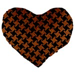 HOUNDSTOOTH2 BLACK MARBLE & RUSTED METAL Large 19  Premium Heart Shape Cushions Front