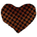 HOUNDSTOOTH2 BLACK MARBLE & RUSTED METAL Large 19  Premium Heart Shape Cushions Back