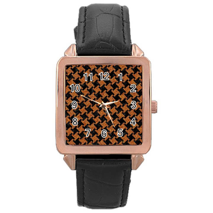 HOUNDSTOOTH2 BLACK MARBLE & RUSTED METAL Rose Gold Leather Watch
