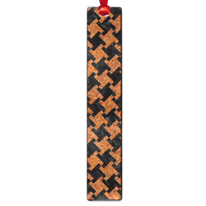 HOUNDSTOOTH2 BLACK MARBLE & RUSTED METAL Large Book Marks