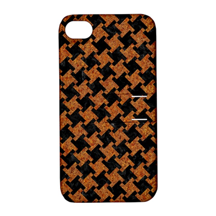 HOUNDSTOOTH2 BLACK MARBLE & RUSTED METAL Apple iPhone 4/4S Hardshell Case with Stand