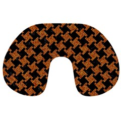 Houndstooth2 Black Marble & Rusted Metal Travel Neck Pillows