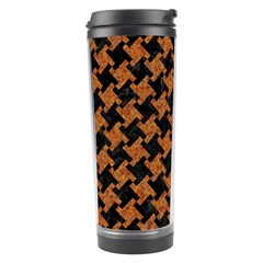 Houndstooth2 Black Marble & Rusted Metal Travel Tumbler