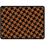 HOUNDSTOOTH2 BLACK MARBLE & RUSTED METAL Double Sided Fleece Blanket (Large)  80 x60 Blanket Front
