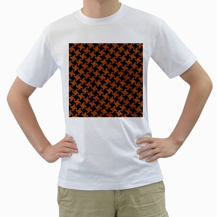 HOUNDSTOOTH2 BLACK MARBLE & RUSTED METAL Men s T-Shirt (White)