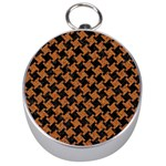 HOUNDSTOOTH2 BLACK MARBLE & RUSTED METAL Silver Compasses Front