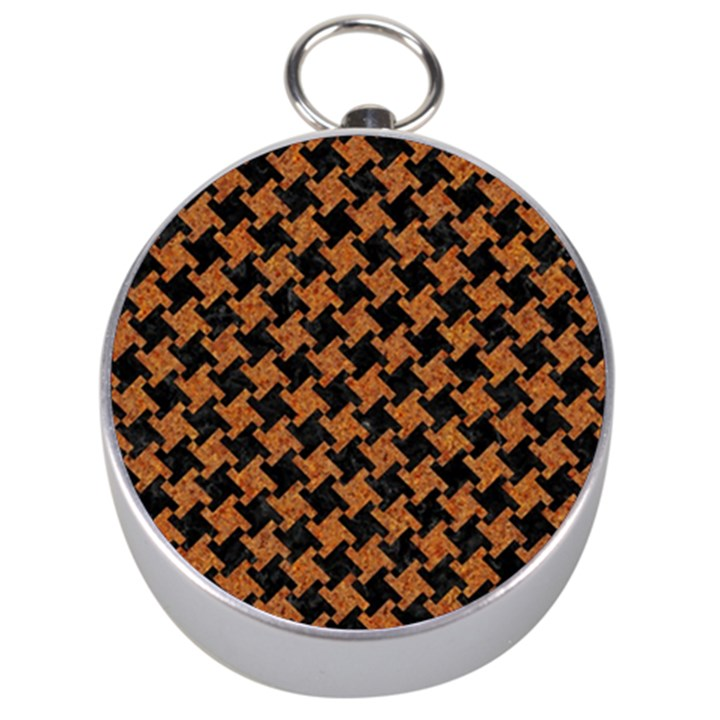 HOUNDSTOOTH2 BLACK MARBLE & RUSTED METAL Silver Compasses
