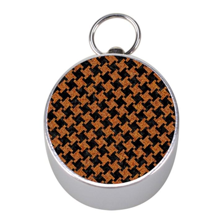 HOUNDSTOOTH2 BLACK MARBLE & RUSTED METAL Mini Silver Compasses