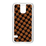 HOUNDSTOOTH2 BLACK MARBLE & RUSTED METAL Samsung Galaxy S5 Case (White) Front