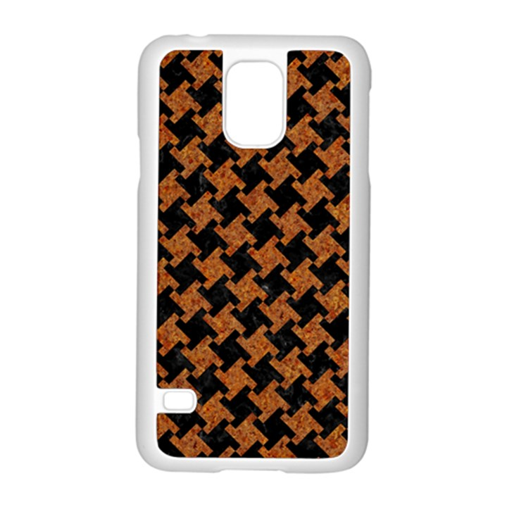 HOUNDSTOOTH2 BLACK MARBLE & RUSTED METAL Samsung Galaxy S5 Case (White)