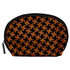 Houndstooth2 Black Marble & Rusted Metal Accessory Pouches (large)