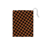 HOUNDSTOOTH2 BLACK MARBLE & RUSTED METAL Drawstring Pouches (Small)  Front