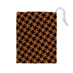 Houndstooth2 Black Marble & Rusted Metal Drawstring Pouches (large)