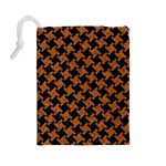 HOUNDSTOOTH2 BLACK MARBLE & RUSTED METAL Drawstring Pouches (Large)  Back