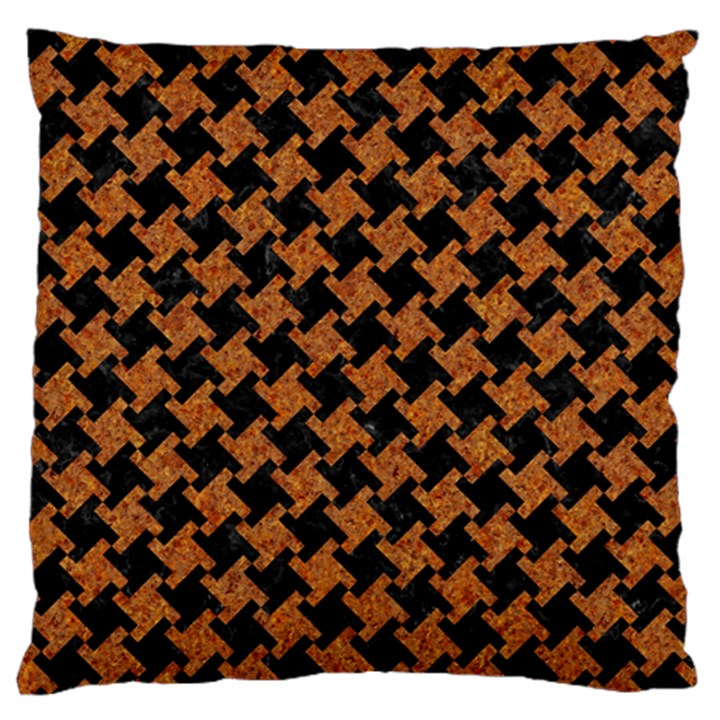 HOUNDSTOOTH2 BLACK MARBLE & RUSTED METAL Standard Flano Cushion Case (Two Sides)
