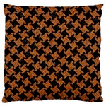HOUNDSTOOTH2 BLACK MARBLE & RUSTED METAL Large Flano Cushion Case (One Side) Front