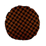 HOUNDSTOOTH2 BLACK MARBLE & RUSTED METAL Standard 15  Premium Flano Round Cushions Front