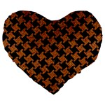 HOUNDSTOOTH2 BLACK MARBLE & RUSTED METAL Large 19  Premium Flano Heart Shape Cushions Front