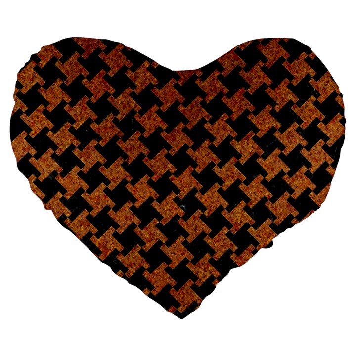 HOUNDSTOOTH2 BLACK MARBLE & RUSTED METAL Large 19  Premium Flano Heart Shape Cushions