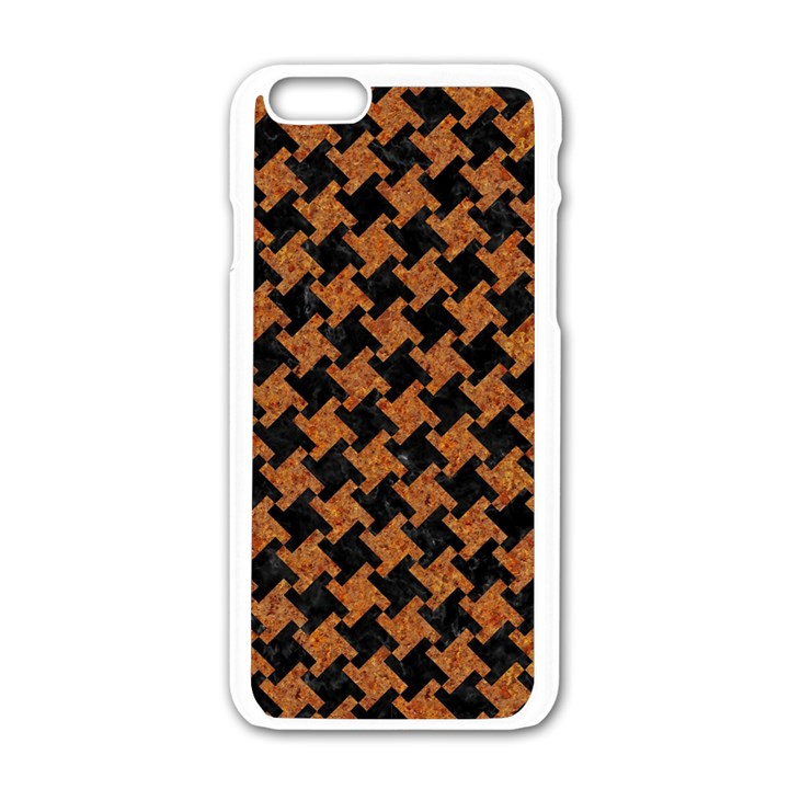 HOUNDSTOOTH2 BLACK MARBLE & RUSTED METAL Apple iPhone 6/6S White Enamel Case