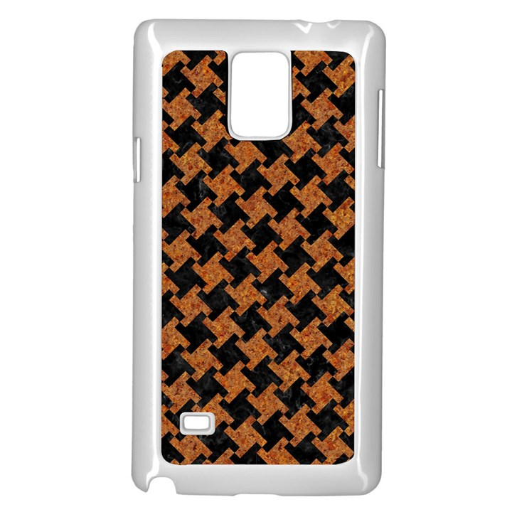 HOUNDSTOOTH2 BLACK MARBLE & RUSTED METAL Samsung Galaxy Note 4 Case (White)