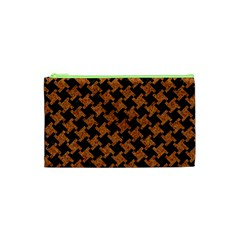 Houndstooth2 Black Marble & Rusted Metal Cosmetic Bag (xs)