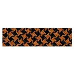 Houndstooth2 Black Marble & Rusted Metal Satin Scarf (oblong)