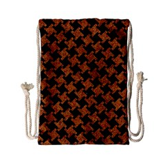 Houndstooth2 Black Marble & Rusted Metal Drawstring Bag (small)